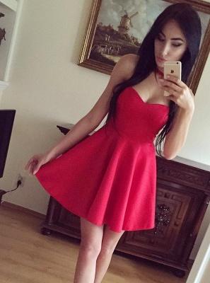 Cute Sweetheart Sleeveless A-line Homecoming Dress |Short Simple Formal Dress_3