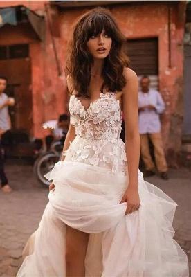 Flowers Tulle Glamorous V-Neck Sleeveless Wedding Dresses Cheap_2