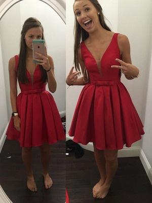 Sash Simple Bowknot V-neck Cheap Sleeveless Short Red Straps Homecoming Dress_1