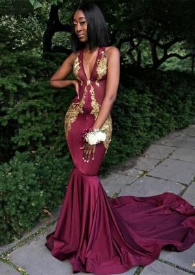 bdfa3737fdd Sexy Straps Burgundy Sleeveless Mermaid Sweep Train Gold Appliques Prom  Dress  Item Code  D153432584576556
