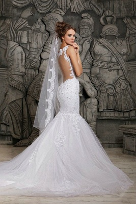 Mermaid Custom Made Lace Wedding Dresses Cheap | Sexy Spaghetti Straps Sheer Tulle Chapel Train Bridal Gowns_3