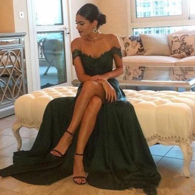 Long Lace Off-the-Shoulder Floor-Length Split Elegant Evening Dress_3
