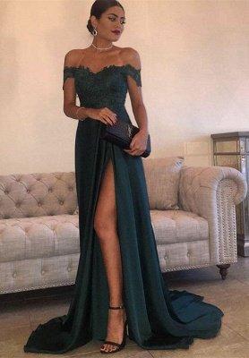 Long Lace Off-the-Shoulder Floor-Length Split Elegant Evening Dress_1