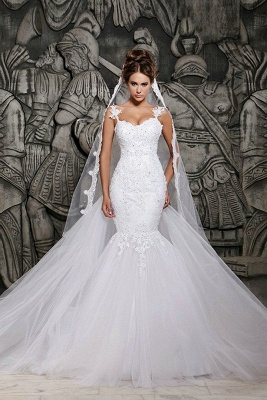 Mermaid Custom Made Lace Wedding Dresses Cheap | Sexy Spaghetti Straps Sheer Tulle Chapel Train Bridal Gowns_1