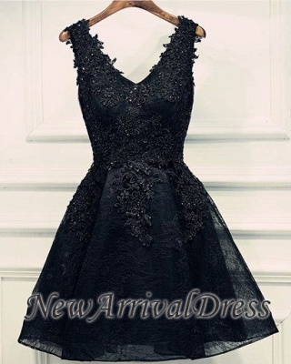 Lace Appliques Beads V-Neck Lace-Up Black Sexy Short Homecoming Dresses BA6904_1