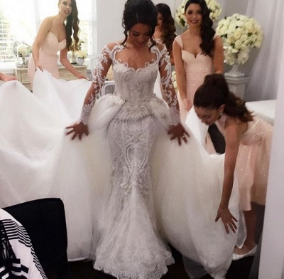 New Arrival Long Sleeves Sheath Wedding Dresses   Lace Appliques Bridal Gowns with Detachable Train_3