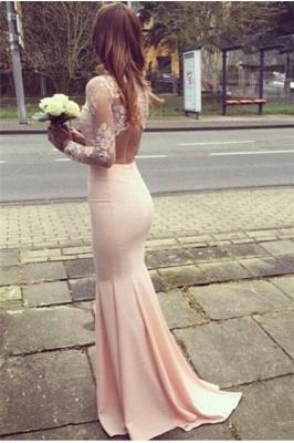 Glamorous Mermaid High-Neck Long-Sleeves Appliques Bridesmaid Dresses_2