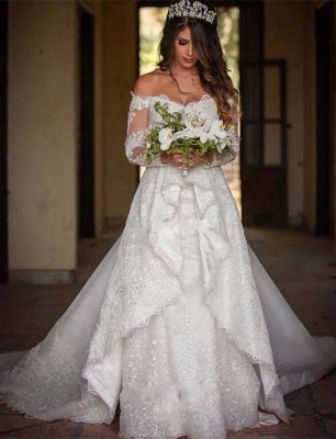 Elegant Long Sleeve Cheap Online Lace Appliques Beautiful Princess Off The Shoulder Wedding Dresses_2