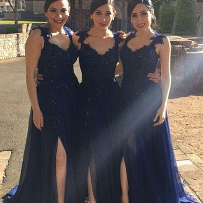 A-line Side-Slit Lace-Appliques Navy-Blue Chiffon Bridesmaid Dresses_3