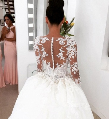 New Arrival Long Sleeves Sheath Wedding Dresses   Lace Appliques Bridal Gowns with Detachable Train_4