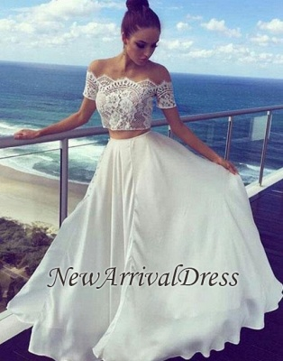 Long Lace Off-the-shoulder White Two-pieces Evening Dress_1