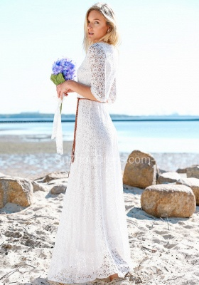 Summer Beach Half Sleeves Lace Wedding Dresses | Cheap Simple Online Bridal Gowns_2