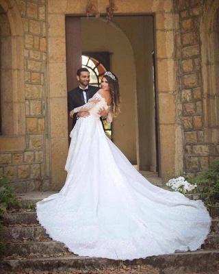 Elegant Long Sleeve Cheap Online Lace Appliques Beautiful Princess Off The Shoulder Wedding Dresses_4