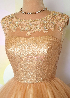 Gold Sequins Appliques Shiny Puffy Sexy Short Homecoming Dresses_4
