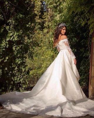 Elegant Long Sleeve Cheap Online Lace Appliques Beautiful Princess Off The Shoulder Wedding Dresses_5