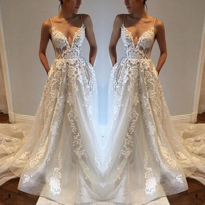 Sexy Spaghetti Straps Custom Made V-Neck Tulle A-Line Wedding Dresses Cheap_3