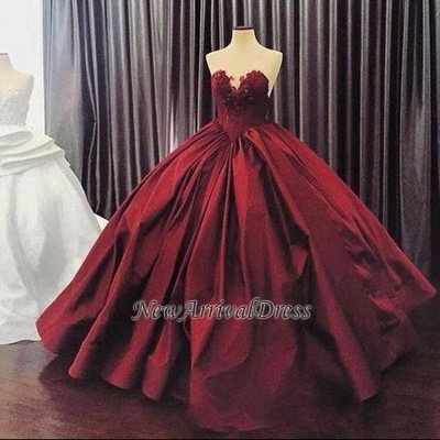 Elegant Sweetheart Ball Gown Evening Dress | Sleeveless Appliques Burgundy Prom Dresses Cheap_1
