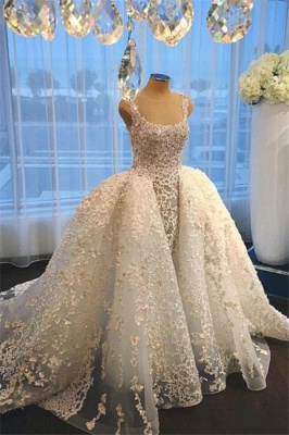 Luxurious Straps Overskirt Sleeveless Wedding Dresses Appliques Ball Gown Bride Dress_1