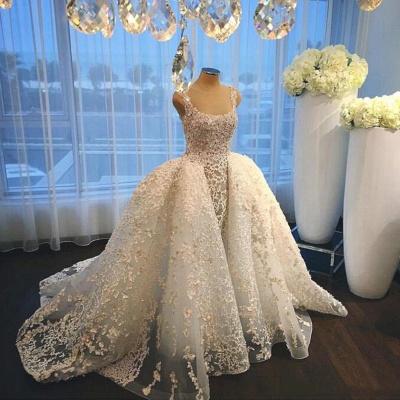 Luxurious Straps Overskirt Sleeveless Wedding Dresses Appliques Ball Gown Bride Dress_4