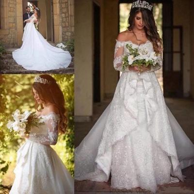 Elegant Long Sleeve Cheap Online Lace Appliques Beautiful Princess Off The Shoulder Wedding Dresses_3