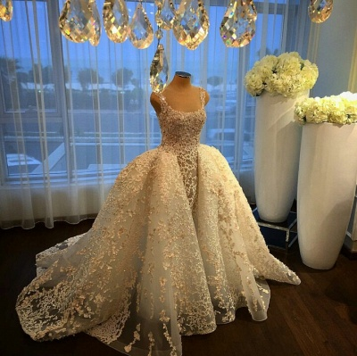 Luxurious Straps Overskirt Sleeveless Wedding Dresses Appliques Ball Gown Bride Dress_3