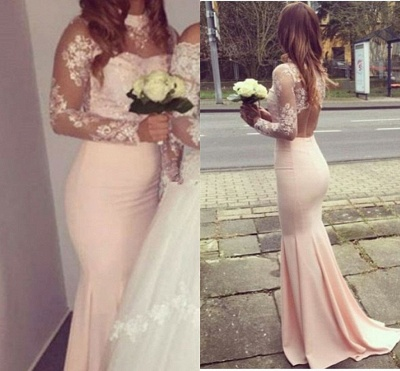 Glamorous Mermaid High-Neck Long-Sleeves Appliques Bridesmaid Dresses_3