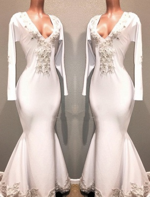 Mermaid White Long Sleeves Evening Dresses | V-Neck Lace Appliques Beaded Prom Dresses