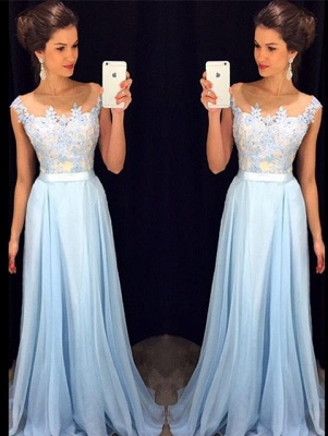 2018 Light Blue Prom Dresses Scoop Neck Capped Sleeves Lace Top Chiffon Evening Gowns