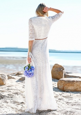 Summer Beach Half Sleeves Lace Wedding Dresses | Cheap Simple Online Bridal Gowns_3