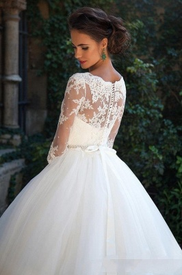 Half Sleeve Ball Gown Wedding Dresses Cheap | Puffy Tulle Lace Appliques Bridal Gowns with Beads Belt_1