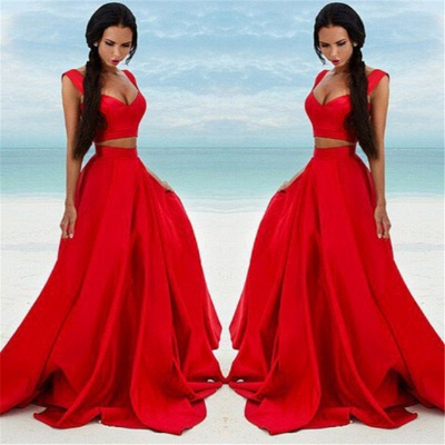 Two Piece Red Formal Dresses Long | Cheap Sleeveless Sexy Prom Dress Online BA7932_3