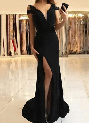 Sexy Black Evening Dress |Prom Dress With Slit_1