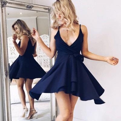 Simple Straps Sleeveless Short V-neck Homecoming Dress_3