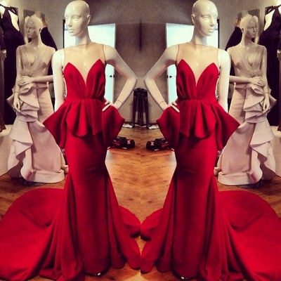 Modest Red Straps Sleeveless Illusion Mermaid Ruffles Prom Dresses Cheap_3