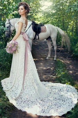 A-line Fulle Lace Outdoor Wedding Dresses Open Back Portrait Bridal Gowns with Lavender Sash BA5059_3