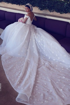 Sexy Off The Shoulder Wedding Dresses Cheap | Open Back Lace Appliques Bridal Gowns_4