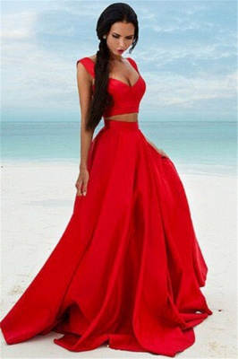 Two Piece Red Formal Dresses Long | Cheap Sleeveless Sexy Prom Dress Online BA7932_1