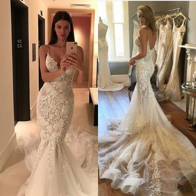 Online Sexy Spaghetti Straps Lace Charming Tulle Button Mermaid Wedding Dresses Cheap_4
