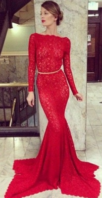 New Arrival Prom Dresses Long Sleeves Sheer Lace Backless Mermaid High Bateau Neck Evening Gowns_1