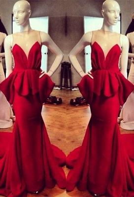 Modest Red Straps Sleeveless Illusion Mermaid Ruffles Prom Dresses Cheap_1