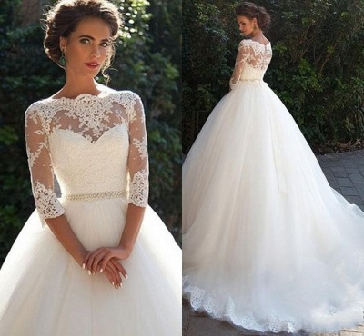 Half Sleeve Ball Gown Wedding Dresses Cheap | Puffy Tulle Lace Appliques Bridal Gowns with Beads Belt_4