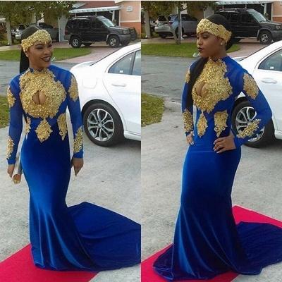 dd8b115be64 Modern Royal Blue Mermaid Gold Appliques Velvet Prom Dress  Item Code   D153793133302456