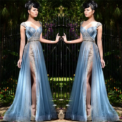 Elegant Blue Straps Long Evening Gowns | Tulle Crystal Side Slit Evening Dresses Cheap_3