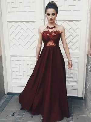 Cute Halter A-line Lace Appliques Deep Burgundy Evening Dress_1
