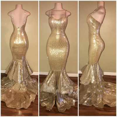Gold Spaghetti Straps Layers-Train Sequins Mermaid Shiny Long Prom Dresses Cheap_3