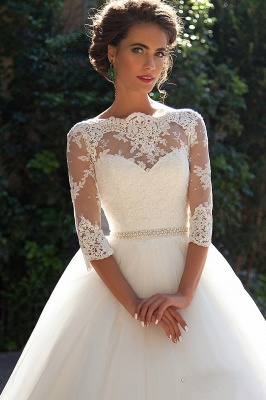 Half Sleeve Ball Gown Wedding Dresses Cheap | Puffy Tulle Lace Appliques Bridal Gowns with Beads Belt_2