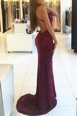 Shiny Mermaid Burgundy Prom Dresses V-neck Straps Backless Sequined Formal Dress_3