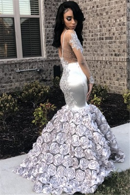 Silver Flowers Long See Through Prom Dresses | Long Sleeve Beads Lace Mermaid Evening Dress FB0371_3