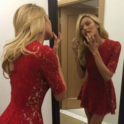 Sexy Red Lace Half Sleeve Short Prom DressesMini Homecoming Gown_3