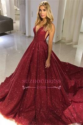 Burgundy Plus Size Sequins Formal Gowns |  Long V-Neck Sleeveless Prom Dresses_1